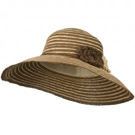 Small Brim Hat with Flowers Accent - Brown