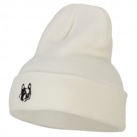Boston Terrier Dog Face Embroidered Long Beanie