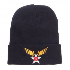 12th Air Force Badge Embroidered Cuff Beanie