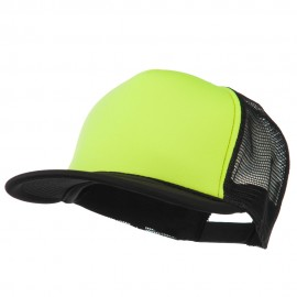 Flat Bill Neon Trucker Cap - Black Yellow