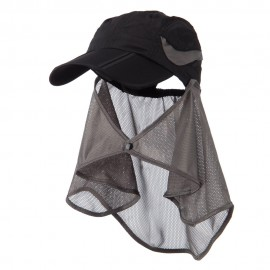 UV 50+ Folding Bill Cap with Detachable Flap - Black
