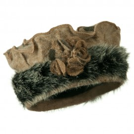 Fur Trim Wool Beret