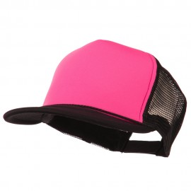Flat Bill Neon Trucker Cap - Black Pink