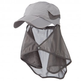 UV 50+ Folding Bill Cap with Detachable Flap - Grey
