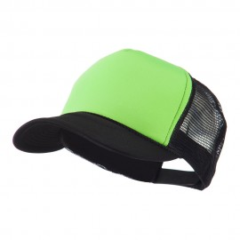 Flat Bill Neon Trucker Cap - Black Green