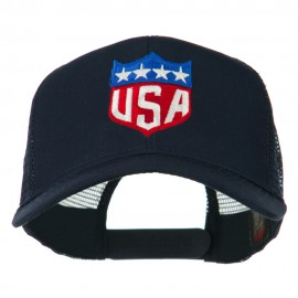 USA Flag Badge Embroidered Mesh Back Cap - Navy