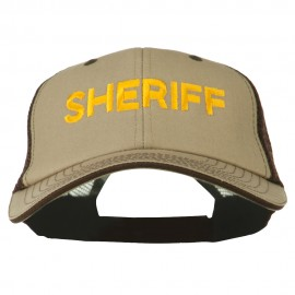 Sheriff Embroidered Big Size Garment Washed Mesh Cap
