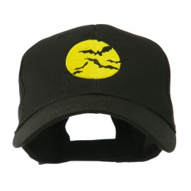 Flying Bats with Moon Embroidered Cap - Black