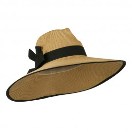 UPF 50+ Fedora Crown Paper Braid Hat - Tan Black