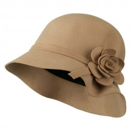 Wool Felt Crushable Hat with Flower