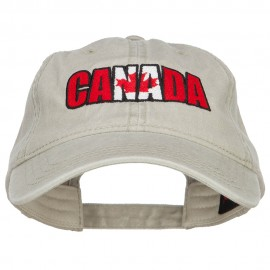 Canadian Flag in Canada Embroidered Washed Cap