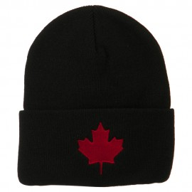 Canada Maple Leaf Embroidered Long Beanie - Black