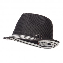 Buckle Band Paper Braid Fedora
