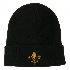 Fleur De Lis Embroidered Long Beanie - Black