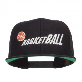 Fading Basketball Embroidered Snapback Cap - Black