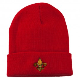 Fleur De Lis Embroidered Long Beanie
