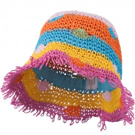 Girl's Toyo Bucket Shaped Hat with Fringe Edge and Polka-Dot Detail