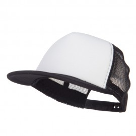 Flat Bill Trucker Snapback Cap - White Black