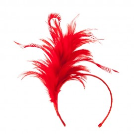 Fancy Feather Fascinator - Red
