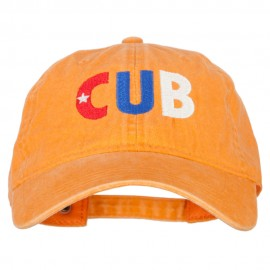 Cuba CUB Flag Embroidered Washed Cotton Twill Cap