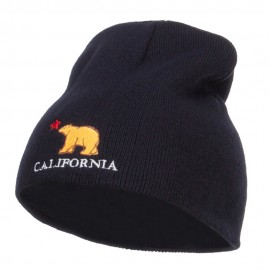 California Bear Embroidered Short Beanie