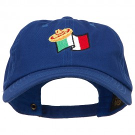 Mexico Flag with Sombrero Embroidered Unstructured Washed Cap