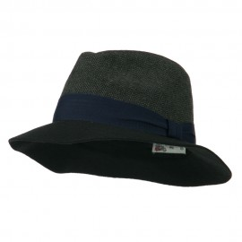 Fashion Herringbone Panama Hat - Black
