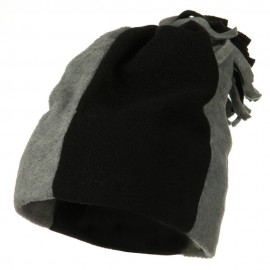 Fleece Winter Beanie Hat - Black Grey