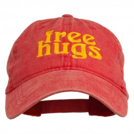 Free Hugs Embroidered Washed Dyed Cap