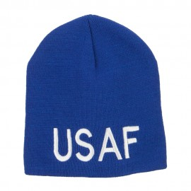 USAF Military Embroidered Short Beanie - Royal