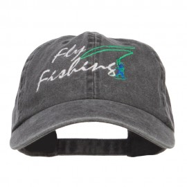 Fly Fishing Embroidered Washed Cap - Black