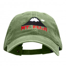 Mt Fuji Embroidered Washed Cotton Brass Buckle Cap