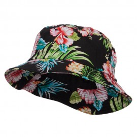 Floral Cotton Bucket Hat - Black