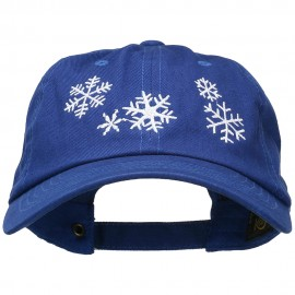 Snowflakes Embroidered Unstructured Washed Cap