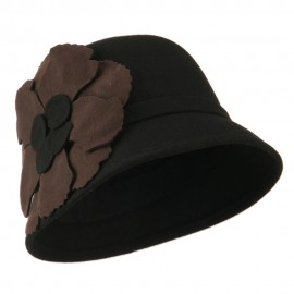 Flat Flower Wool Felt Cloche Hat - Black