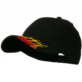 Brushed Cotton Embroidered Flame Logo Cap - Black