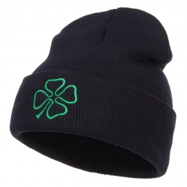 Four Leaf Irish Clover Embroidered Long Beanie