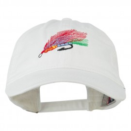 Fishing Fly Embroidered Washed Cap - White