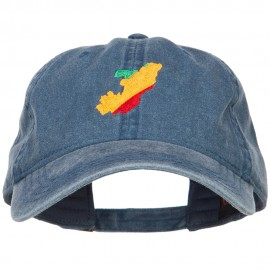 Congo Map Flag Embroidered Washed Cap