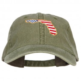 USA Flag Florida Map Embroidered Washed Buckle Cap