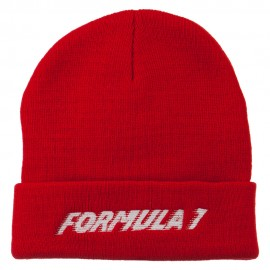 Auto Racing Formula 1 Embroidered Long Beanie - Red