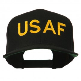 USAF Military Embroidered Flat Bill Cap - Black