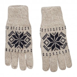 Wool Snowflake Design Glove - Oatmeal