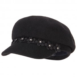 Women's Flower Band Accented Wool Felt Newsboy Cap