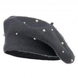 Women's Fake Pearl Accents Beret - Grey