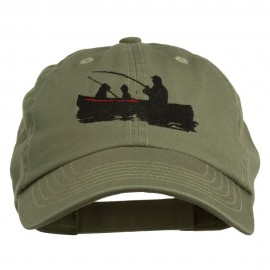 Fishing in Boat Embroidered Pet Spun Cap