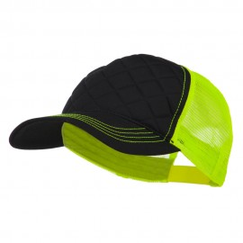 Fashion Quilted Trucker Two Tone Neon Mesh Cap - Black Neon Yellow