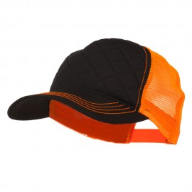 Fashion Quilted Trucker Two Tone Neon Mesh Cap - Black Neon Orange