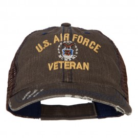 US Air Force Veteran Military Embroidered Low Cotton Mesh Cap