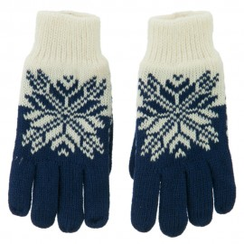 Fancy Snowflake Design Gloves - Blue